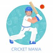 stock photo of cricket bat  - Cricket player with bat in helmet and leg guards on game equipment outlined background abstract vector illustration - JPG