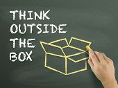 stock photo of thinking outside box  - think outside the box drawn by hand over chalkboard - JPG