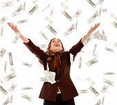 foto of rain  - Business woman under a money rain  - JPG
