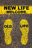 Постер, плакат: Old Life Welcome New Life Message Conceptual Image