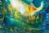 picture of fairy-tale  - colorful structured painting of a fairy tale forest village with white flames - JPG