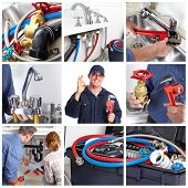 pic of plumber  - Plumber man with tools in the kitchen - JPG