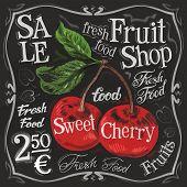 pic of black-cherry  - ripe cherries on a black background - JPG