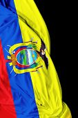picture of guayaquil  - Ecuadorian waving flag on black background - JPG