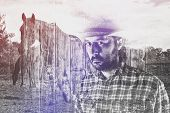 foto of wrangler  - Bearded Cowboy Farmer wearing Straw Hat on Western American Horse Ranch Double Exposure Image - JPG