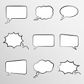 picture of bubbles  - Collection of 9 comic style thought bubbles in various shapes - JPG
