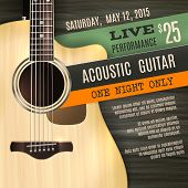 foto of acoustic guitar  - Indie musician concert show poster with acoustic guitar vector illustration - JPG