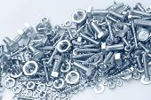 pic of bolt  - Assorted nuts and bolts closeup - JPG