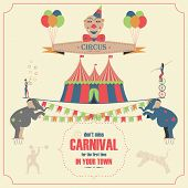 stock photo of carnival ride  - Circus and Carnival Invitation Card Template - JPG