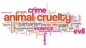 picture of animal cruelty  - Animal cruelty issues and concepts word cloud illustration - JPG