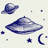 picture of flying saucer  - Space flying saucer - JPG