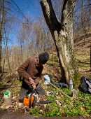 foto of man chainsaw  - Senior woodcutter doing maintenance work for his chainsaw - JPG