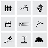 foto of carpentry  - Vector Carpentry icon set on grey background - JPG