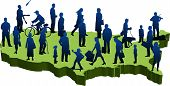 image of united states map  - graphic depicting a usa map with silhouette people - JPG