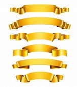 image of congratulation  - Realistic 3d golden glossy decorative congratulation ribbons set isolated vector illustration - JPG