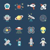 stock photo of cyborg  - Fiction icon set with aliens space shuttle cyborg weapons isolated vector illustration - JPG