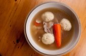 picture of penicillin  - home made matzoh ball soup with carrots and chicken - JPG