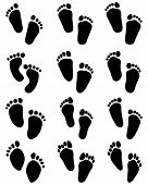 picture of wet feet  - Black prints of baby feet on white - JPG