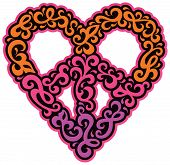 stock photo of swirly  - Peace and heart symbol design of swirly shapes in magenta - JPG