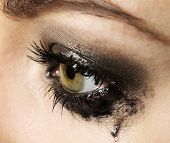 image of tears  - Eye of young woman with tear drop close up - JPG