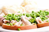 foto of diners  - diner style open faced hot chicken sandwich with mashed potatoes - JPG