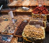 stock photo of dry fruit  - dried fruit for sale at the fruit market - JPG