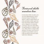 foto of beach shell art  - Doodle textured colored shells seamless line - JPG