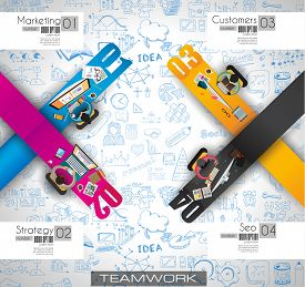pic of sketche  - Infographics Teamwork with Business doodles Sketch background - JPG
