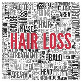 image of male pattern baldness  - Close up HAIR LOSS Text at the Center of Word Tag Cloud on White Background - JPG