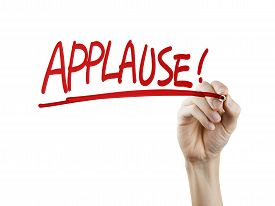 picture of applause  - applause word written by hand on a transparent board - JPG