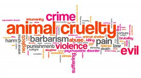 stock photo of animal cruelty  - Animal cruelty issues and concepts word cloud illustration - JPG