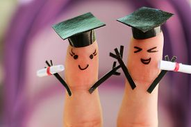 picture of graduation gown  - Face painted on the fingers - JPG