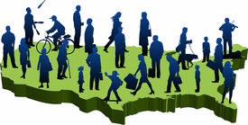 stock photo of united states map  - graphic depicting a usa map with silhouette people - JPG