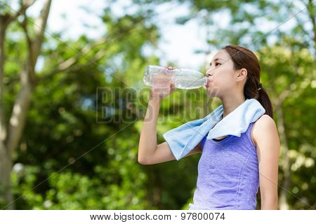 Woman drink with water bottle