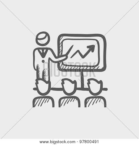 Businessman giving a presentation sketch icon for web and mobile. Hand drawn vector dark grey icon on light grey background.