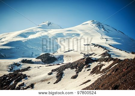 The Western And Eastern Peaks Of Elbrus Closeup