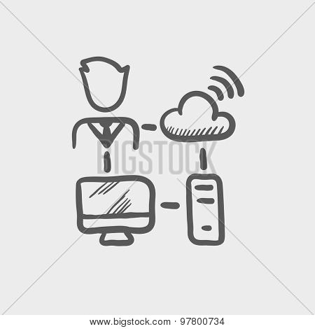 Male office worker with computer set and wifi sketch icon for web and mobile. Hand drawn vector dark grey icon on light grey background.