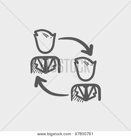 Two men in exchanging arrow sketch icon for web and mobile. Hand drawn vector dark grey icon on light grey background.