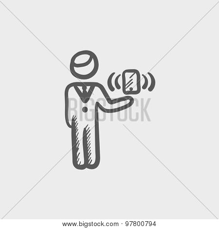 Man and wireless signal sketch icon for web and mobile. Hand drawn vector dark grey icon on light grey background.