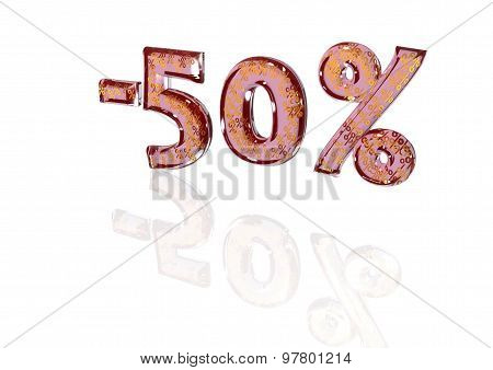 Inscription Minus 50 Percent With A Set Of Signs Of Percent In It