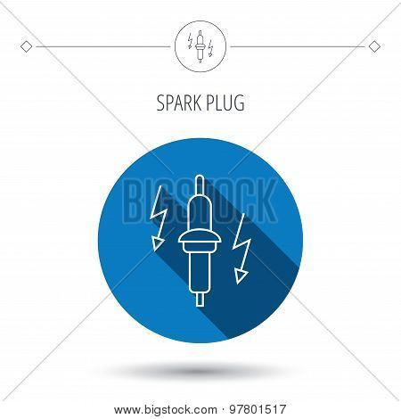 Spark plug icon. Car electric part sign.