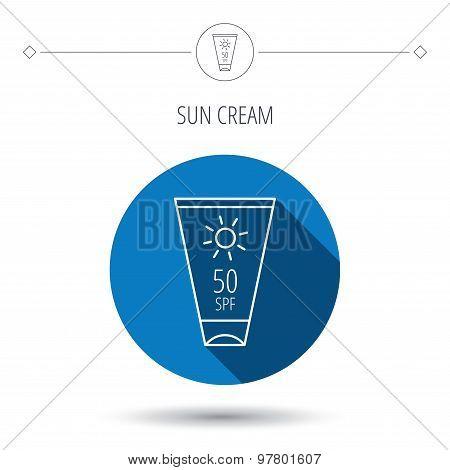 Sun cream container icon. Beach lotion sign.