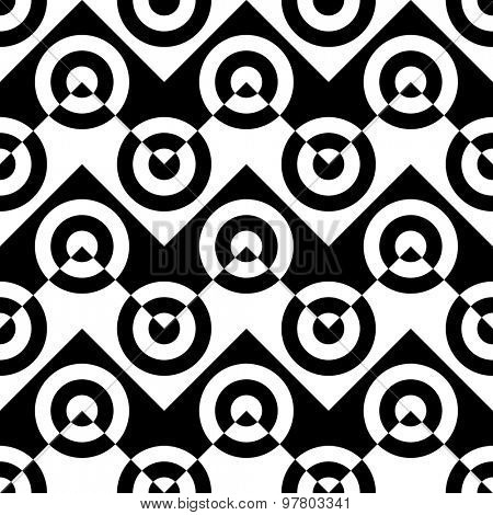 Seamless Circle and Zig Zag Pattern. Abstract  Monochrome Background. Vector Regular Texture