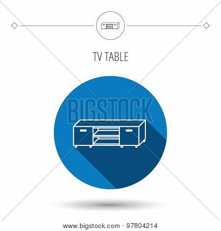 TV table stand icon. Television furniture sign.