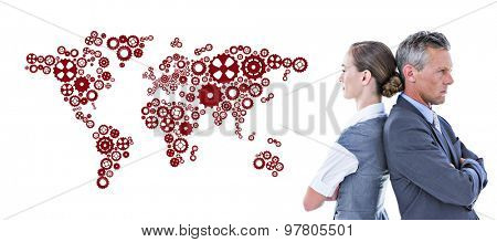 Business team not talking to each other against map made of cogs