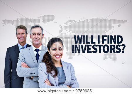 Happy business team standing in a line against orange world map on white background