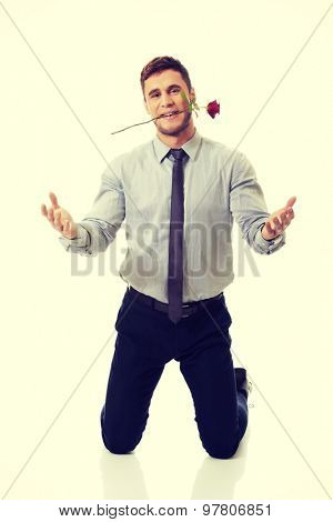 Young handsome man kneeling, holding red rose in his mouth.