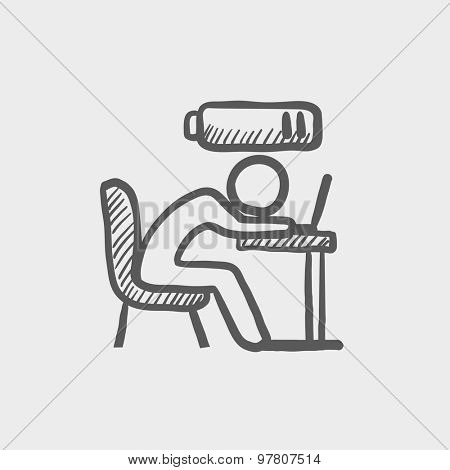 Bsinessman in low power sketch icon for web and mobile. Hand drawn vector dark grey icon on light grey background.