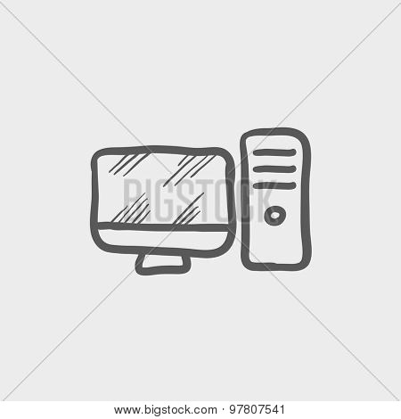 CPU and monitor sketch icon for web and mobile. Hand drawn vector dark grey icon on light grey background.