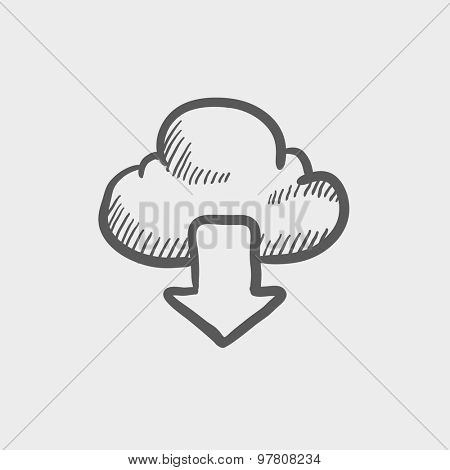 Cloud with arrow down sketch icon for web and mobile. Hand drawn vector dark grey icon on light grey background.